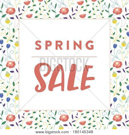Corporate spring sale marketing collateral. Small business promotional image with hand lettering and floral frame background. Square social media sale promotion.