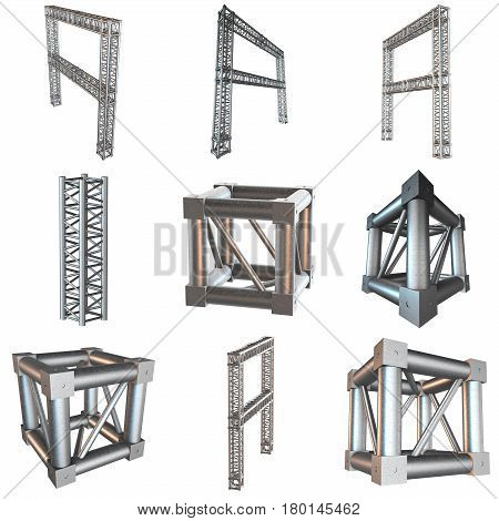 Steel truss girder rooftop frame construction set. 3d render isolated on white