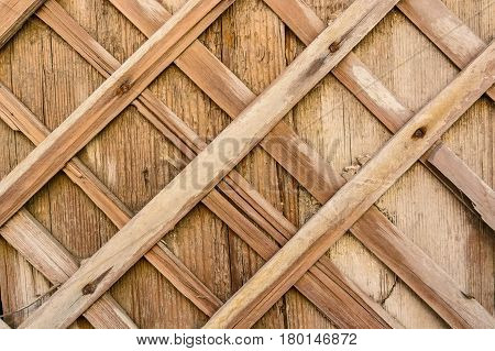 Brown plank wood wall background of demolished obsolete wall