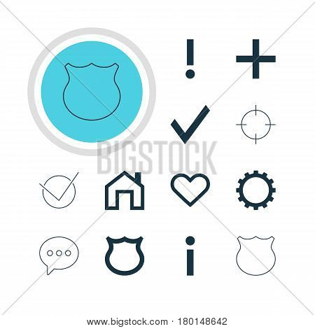 Vector Illustration Of 12 Member Icons. Editable Pack Of Info, Plus, Mainpage And Other Elements.