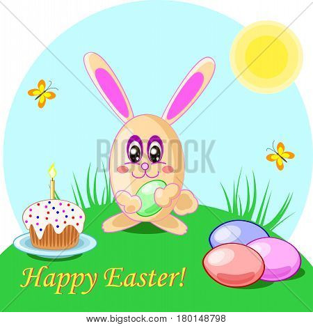 Vector illustration of easter rabbit eggs and cake. Holliday card with words Happy Easter
