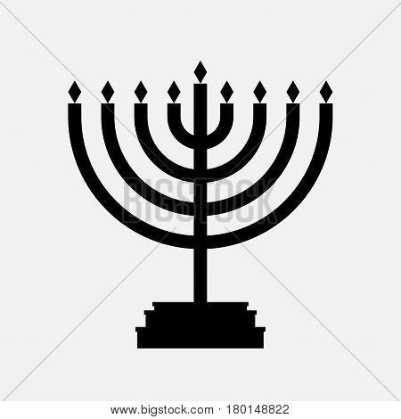 Menorah icon for hanukkah black vector isolated