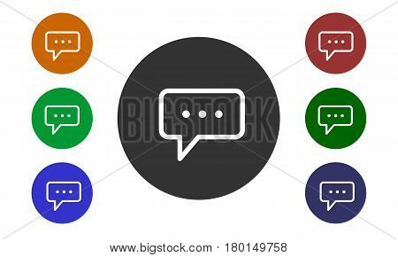 Set of colorful circular icons comments on websites and forums and in e-shop with a button and a picture bubbles isolated on white background - vector