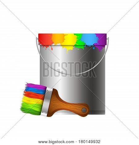 Bucket with paint stains and a paintbrush