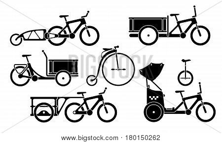 Set Of Utility Bikes And Trikes Silhouette Icons