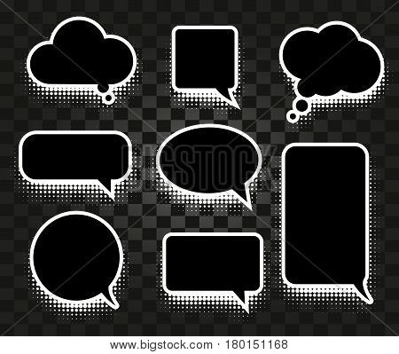 Isolated abstract black and white color comics speech balloons icons collection on checkered background, dialogue boxes signs set, dialog frames vector illustration.