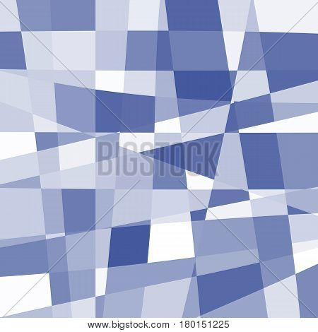 Isolated abstract blue and white color unusual checkered background, rectangles of different uneven shape backdrop, unusual texture pattern vector illustration.