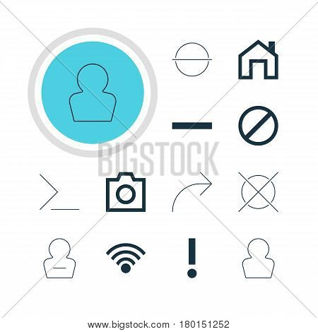 Vector Illustration Of 12 User Icons. Editable Pack Of Snapshot, Remove User, Cordless Connection And Other Elements.