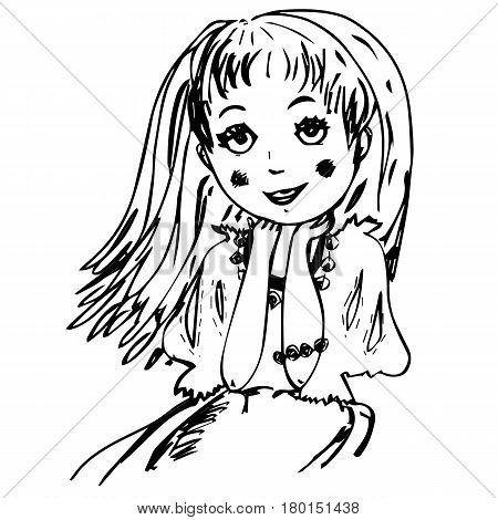 Hand drawn little girl with long hair and friendly smiling face. Cute child with big eyes. Childhood. Dreams. Sketch for kids room, printers, cards, posters.