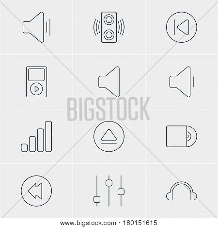 Vector Illustration Of 12 Music Icons. Editable Pack Of Stabilizer, Compact Disk, Preceding And Other Elements.