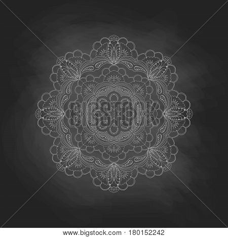 Mandala on a chalkboard background. Zentangl round ornament. Abstract vector illustration