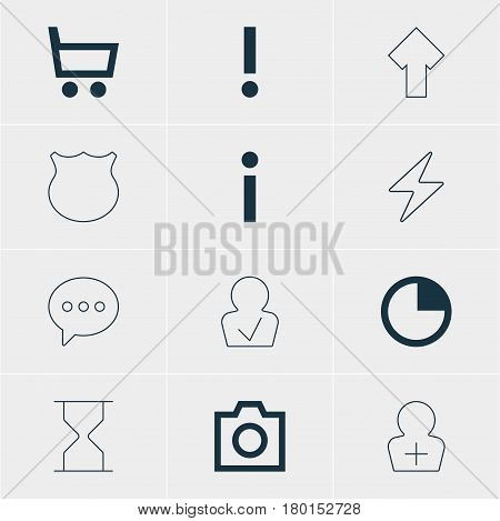 Vector Illustration Of 12 User Icons. Editable Pack Of Guard, Snapshot, Approved Profile And Other Elements.