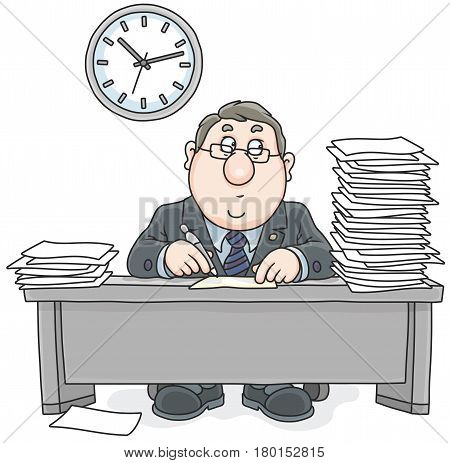 Vector illustration of a chubby white collar worker at table with papers