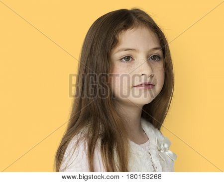 Young girl with a blank expression isolated portrait