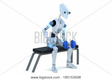 3d render of a robot sitting on an bench doing dumbbell exercises with left arm against a white background.