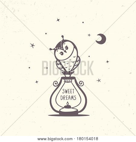 Beautiful and cute silhouette owl siting on a lantern with sample text. Vector illustration