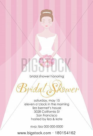 Bridal shower invitation template. Wedding fashion vector Illustrartion. Bride in beautiful white dress with a flower bouquet.