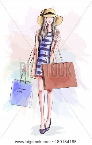 Beautiful fashion model in hat. Stylish cute girl in fashion clothes. Sketch. Vector illustration.
