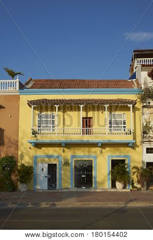 CARTAGENA, COLOMBIA - JANUARY 25, 2017: Traditional Spanish style colonial building in Getsemini area of the historic old city of Cartagena in Colombia.