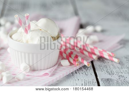 Serving Of Delicious Frozen Creamy Vanilla Ice Cream On A Rustic Table For Summer Dessert