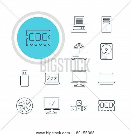 Vector Illustration Of 12 Laptop Icons. Editable Pack Of Printer, Laptop, Router And Other Elements.