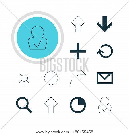 Vector Illustration Of 12 Member Icons. Editable Pack Of Positive, Downward, Displacement And Other Elements.