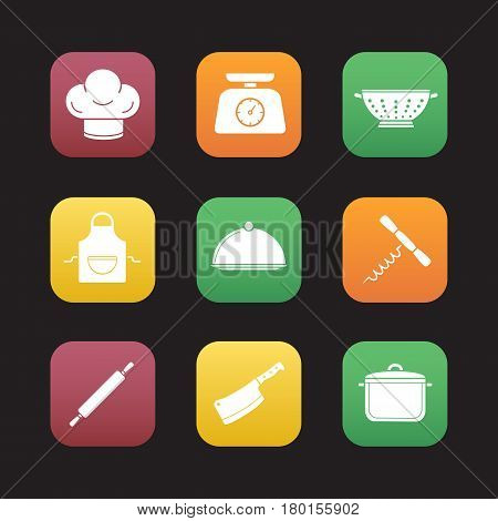 Kitchenware flat design icons set. Chef's hat, kitchen food scales, colander, apron, covered dish, stew pot, rolling pin, cleaver, corkscrew. Web application interface. Vector illustrations