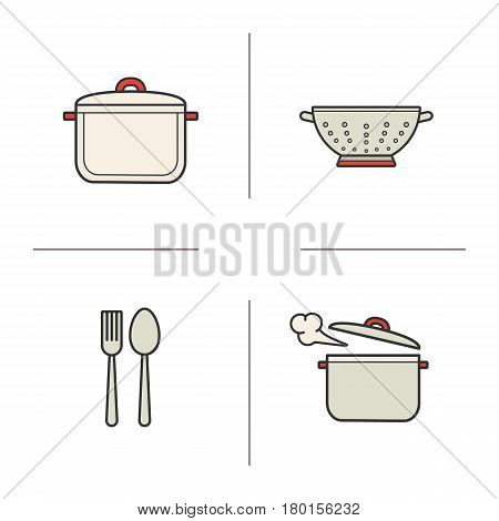 Kitchen items color icons set. Stew pan, fork and spoon, steaming saucepan, kitchen sieve. Isolated vector illustrations