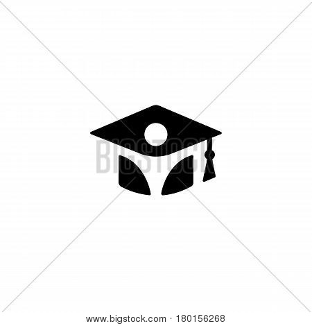 Isolated black and white color bachelor hat with student silhouette logo, graduation uniform logotype, education element vector illustration.