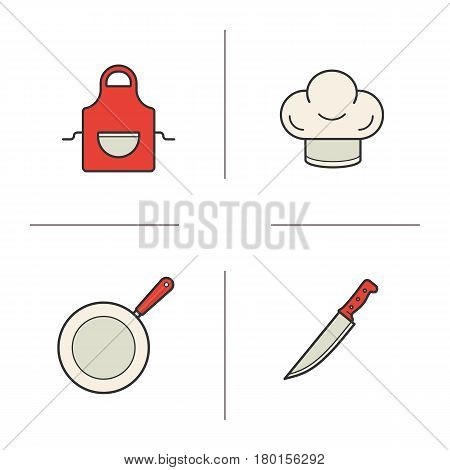 Chef's equipment color icons set. Cooking items. Toque, apron, frying pan, knife. Isolated vector illustrations