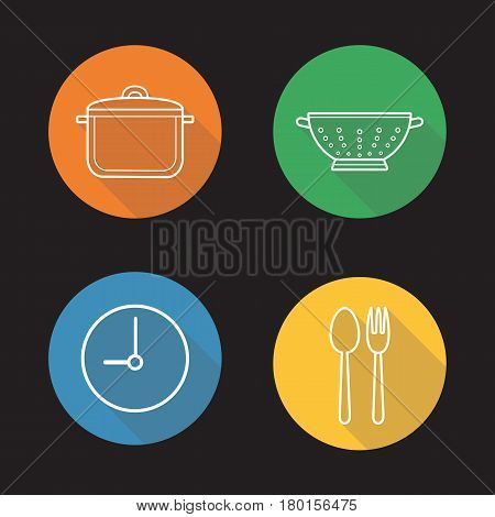 Mealtime flat linear long shadow icons set. Cooking process. Stew pan, fork and spoon, clock, kitchen sieve. Vector line illustration