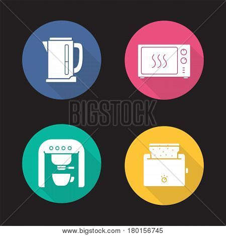 Kitchen electronics flat design long shadow icons set. Electric kettle, microwave oven, espresso coffee machine, toaster. Vector silhouette illustration