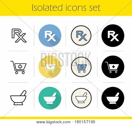 Pharmacy icons set. Flat design, linear, black and color styles. Drugstore, Shopping cart with cross, rx prescription sign, mortar and pestle. Isolated vector illustrations