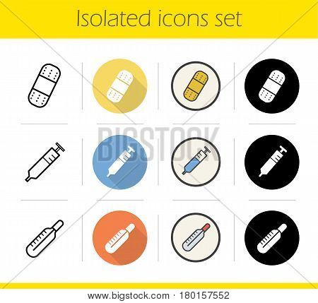 Medical equipment icons set. Flat design, linear, black and color styles. Thermometer, adhesive bandage and syringe. Isolated vector illustrations