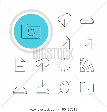 Vector Illustration Of 12 Network Icons. Editable Pack Of Hdd Sync, Delete Data, Checked Note And Other Elements.