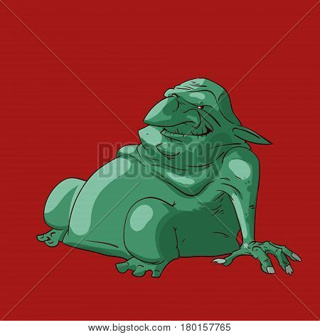 Colorful vector illustration of a fat troll