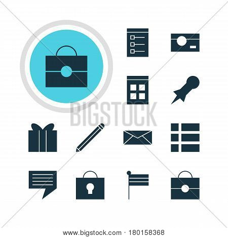 Vector Illustration Of 12 Online Icons. Editable Pack Of List, Pen, Keyhole And Other Elements.