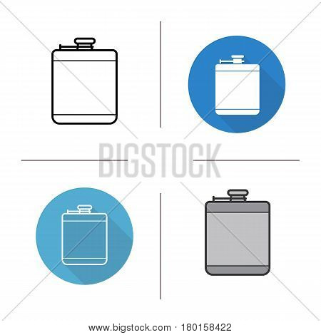 Hip flask icon. Flat design, linear and color styles. Alcohol flask. Isolated vector illustrations