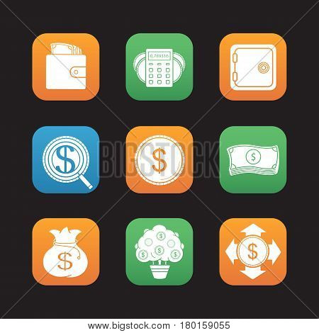 Banking and finance flat design icons set. Purse with cash, money income calculations, investor search, dollars stack, bank vault. Web application interface. Vector illustrations