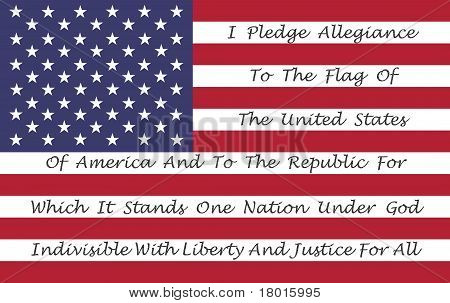 American Flag With The Pledge Of Allegiance
