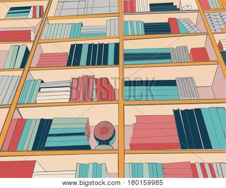 Background of books on the Bookshelves pattern of library bookshelf with book collection