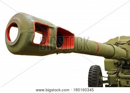 Artillery gun of the Second World War isolated on a white background.
