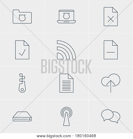 Vector Illustration Of 12 Web Icons. Editable Pack Of Delete Data, Fastener, Removing File And Other Elements.