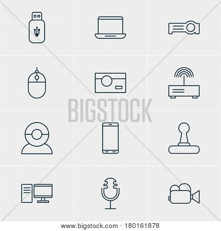 Vector Illustration Of 12 Device Icons. Editable Pack Of Cursor Controller, Sound Recording, Photography And Other Elements.