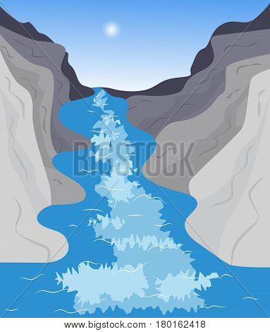 Natural landscape. The river flows between the mountains on a sunny day. Vector illustration
