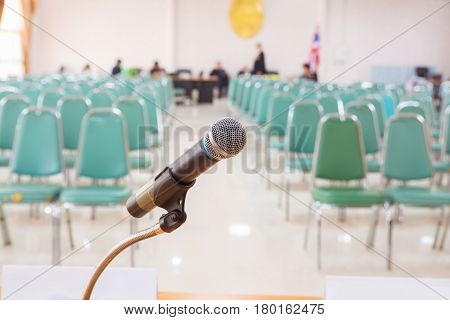 Close-up Of Microphone In Empty Meeting Announcement Room