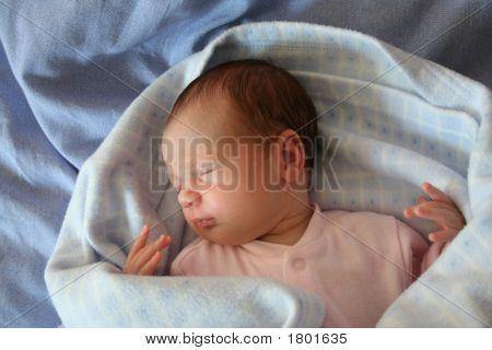 Baby Sleeping In Blue