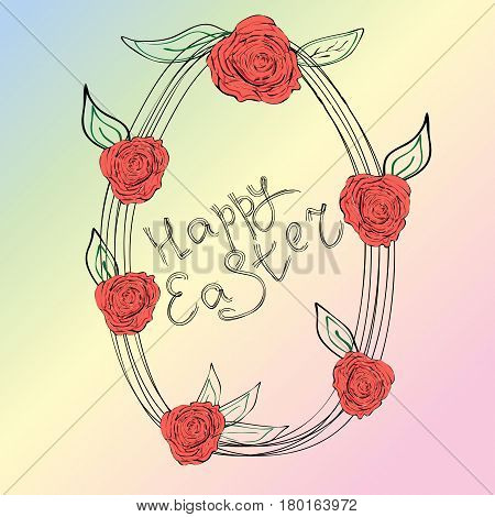 Easter egg with roses drawn by a smal contour