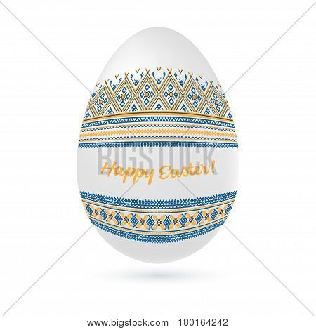 Easter ethnic ornamental egg with cross stitch pattern. Isolated on white background Vector illustration.