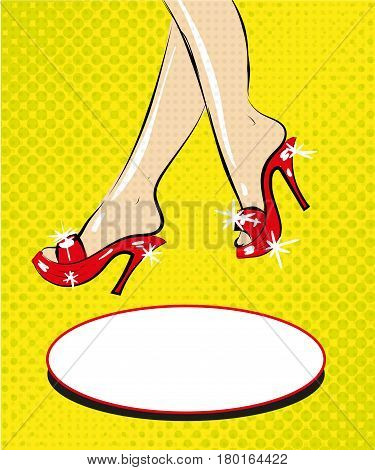 Vector illustration of slender female legs, sitting tired of high spike heels,